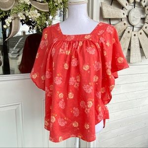 Hot Coral Pink Butterfly Sleeve Floral Blouse